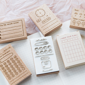 JIANWU 1pc Creative Daily Plan Form Wooden Stamp Simple Basis DIY Journal Schedule Stamps for Scrapbooking Crafts Supplies