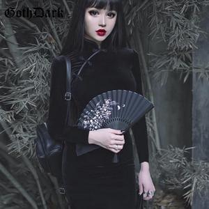 Image 4 - Goth Scuro Solido Vintage Gothic Abiti Harajuku Autunno 2020 Patchwork Grunge Impiombato Delle Donne del Tasto Del Vestito A Maniche Lunghe Sexy