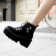Women Ankle Boots Shoes Punk Motorcycle Boots Women Rock Chunky Platform Shoes Autumn Women Lace Up Black Ankle Boots(China)