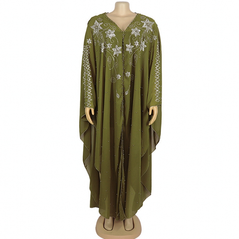 2020 Africa Clothing Robe African Design Bazin Chiffon Long Stick Diamond SLeeve Dashiki Dress Lady African Dresses For Women