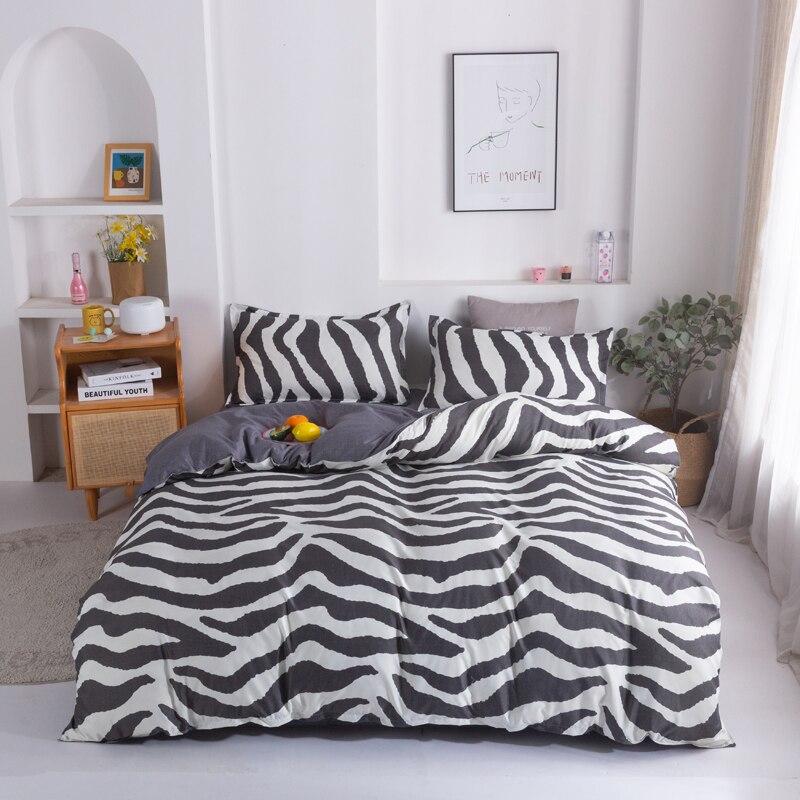 black and white zebra Print Home Bedding Sets Duvet Cover Pillowcase Flat Sheet King Queen Full Twin