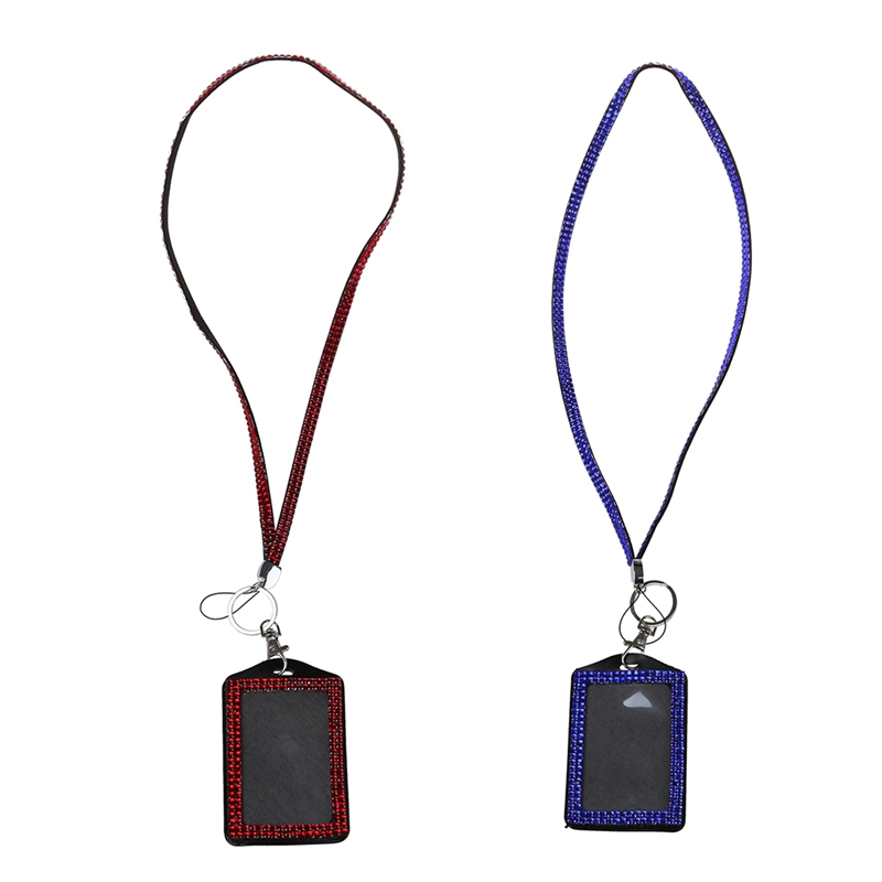 2 Pcs Rhinestone Bling Crystal Custom Lanyard Vertical ID Badge Holder (Red&Dark Blue)