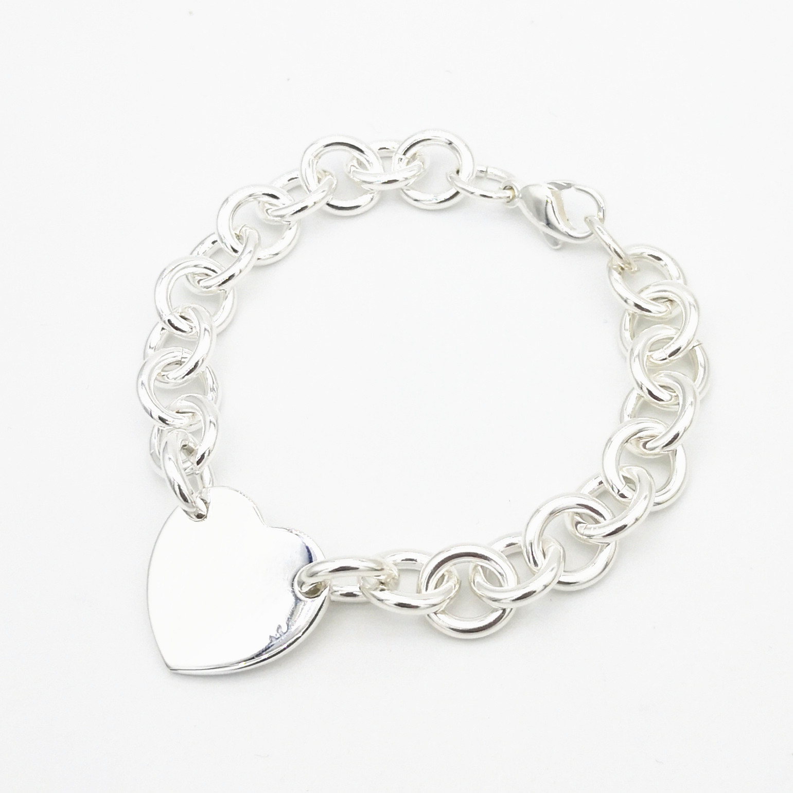 1: 1 sterling silver 925 classic fashion popular heart shaped ladies bracelet jewelry holiday gift