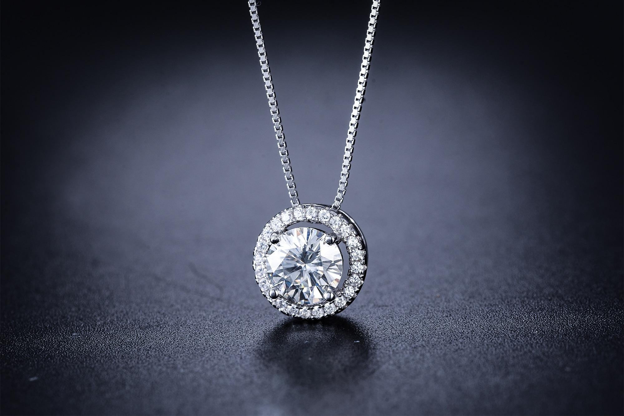 Kkmall Store Round Silver Moissanite Pendants 1.00ct Luxury Moissanite Pendants Jewelry Girlfriend Gift Moissanite necklaces