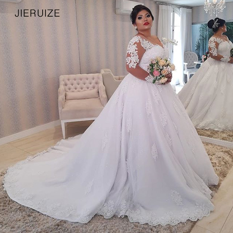 JIERUIZE White Lace Appliques Plus Size Wedding Dresses Long Sleeves Lace Up Back Wedding Gowns Bride Dresses Robe De Mariee