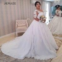 JIERUIZE White Lace Appliques Plus size Wedding Dresses Long Sleeves Lace Up Back Wedding Gowns Bride Dresses robe de mariee