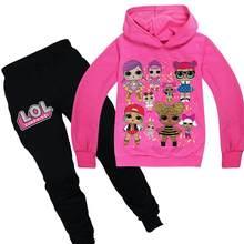Bebê meninas lol conjunto de roupas crianças terno meninas treino crianças dos desenhos animados lol boneca esporte ternos hoodies topo + calças 2pcs conjunto 3-10yrs