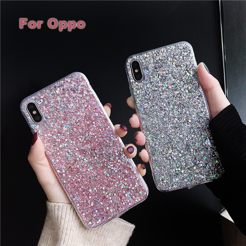 <font><b>Case</b></font> For <font><b>Oppo</b></font> RenoZ K3 A9 F11 K1 A7X F9 A7 A83 A1 <font><b>A77</b></font> F5 A59 A57 A5 A3 Fashion Glitter Bling Crystal Sequins Silicone <font><b>Case</b></font> Cover image