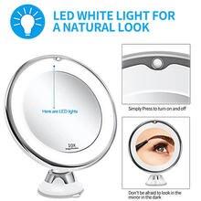 10X lupa maquillaje LED espejo con luz Led con imbécil montado en la pared de maquillaje LED espejo Flexible espejo de vanidad herramienta de maquillaje