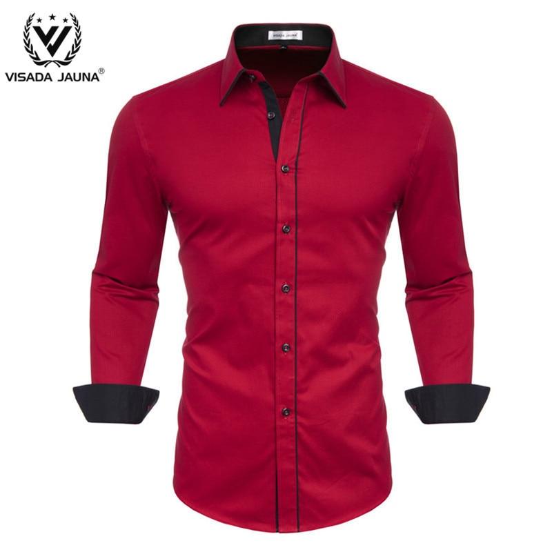 VISADA JUANA 2019 Men Casual Long Sleeve Solid Shirt Slim Fit Male Social Business Dress Shirt Brand Men Clothing Comfortable