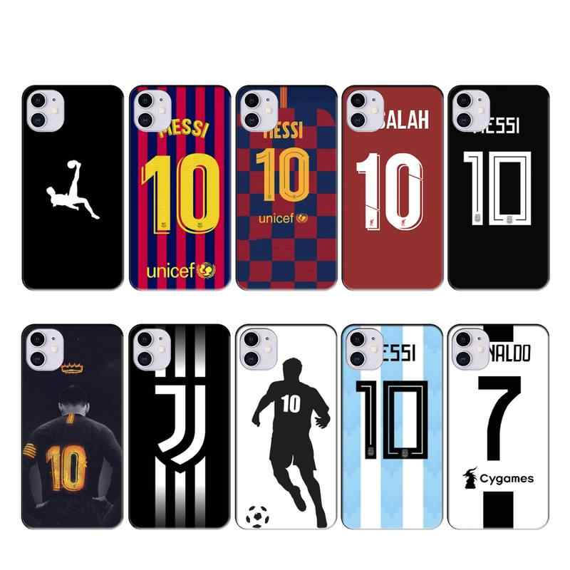 Sepak Bola MESSI CR7 Case Coque Fundas untuk Iphone 11 PRO MAX X XS XR 4S 5S 6S 7 8 PLUS SE 2020 Case Penutup