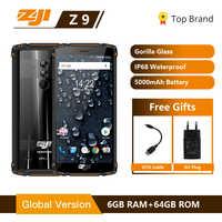 "Originale Globale Versione HOMTOM ZJI ZOJI Z9 6 GB 64 GB IP68 5500 mAh Impermeabile Android 8.1 5.7 ""Viso di impronte digitali ID 4G Smartphone"