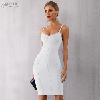 Adyce 2020 New Summer Blue Bodycon Bandage Dress Women Sexy Spaghetti Strap Strapless Knee Length Celebrity Evening Party