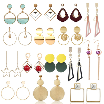 Korean Creative Long Statement Geometric Triangle Tassel Dangle Drop Earrings For Women Earings Fashion Jewelry Oorbellen image