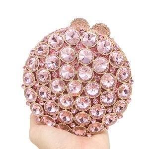 Image 2 - Boutique De FGG Socialite Hollow Out Round Hardcase Women Pink Crystal Evening Purse Wedding Party Prom Handbag Clutch Bag