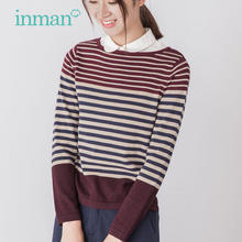INMAN 2017 new spring all-match art fan striped Pullover female short shirt blouse