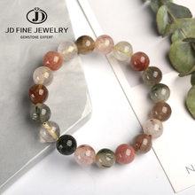 Jd 7 chakra natural colorido rutilated quartzo cristal feminino masculino claro redondo contas pulseira 6-14mm 5a rutilated quartzo jóias