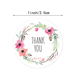 500pcs Per roll 6 Designs Floral Thank You Sticker Seal Labels Christmas Gift Decoration Sticker for Package Stationery Sticker