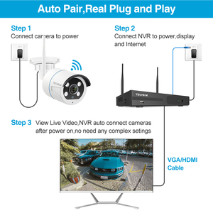 Image 3 - Techege 8CH NVR Kit 1080P Wireless CCTV Security Camera System Two Way Audio 2MP Waterproof Outdoor WIFI Video Surveillance Kit