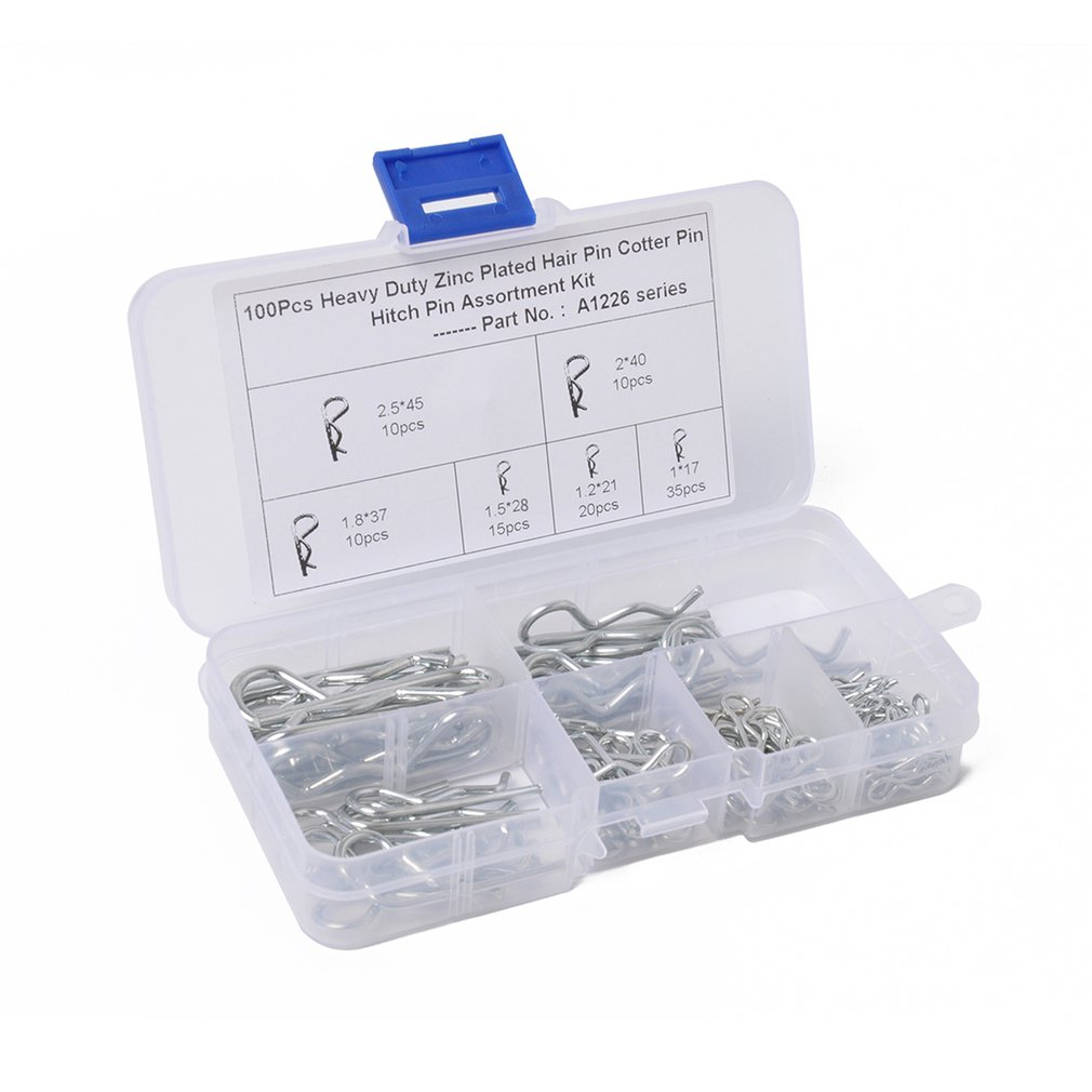 100PCS Zinc Plated Hair Pin Hitch Retaining R Clip Lynch Cotter Spring Assorted Kit Split Cotter Pins Kit Set Fastener Pins