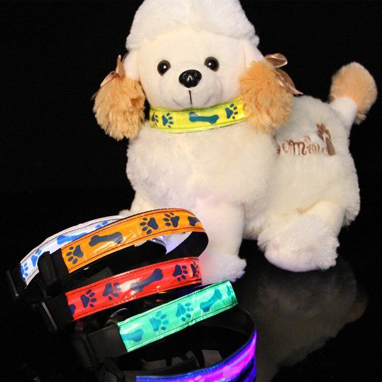 LED Lattice Printed Pet Luminous Collar Night Dog Dog Cat Collar Flash Night Light Fluorescent Neck Band