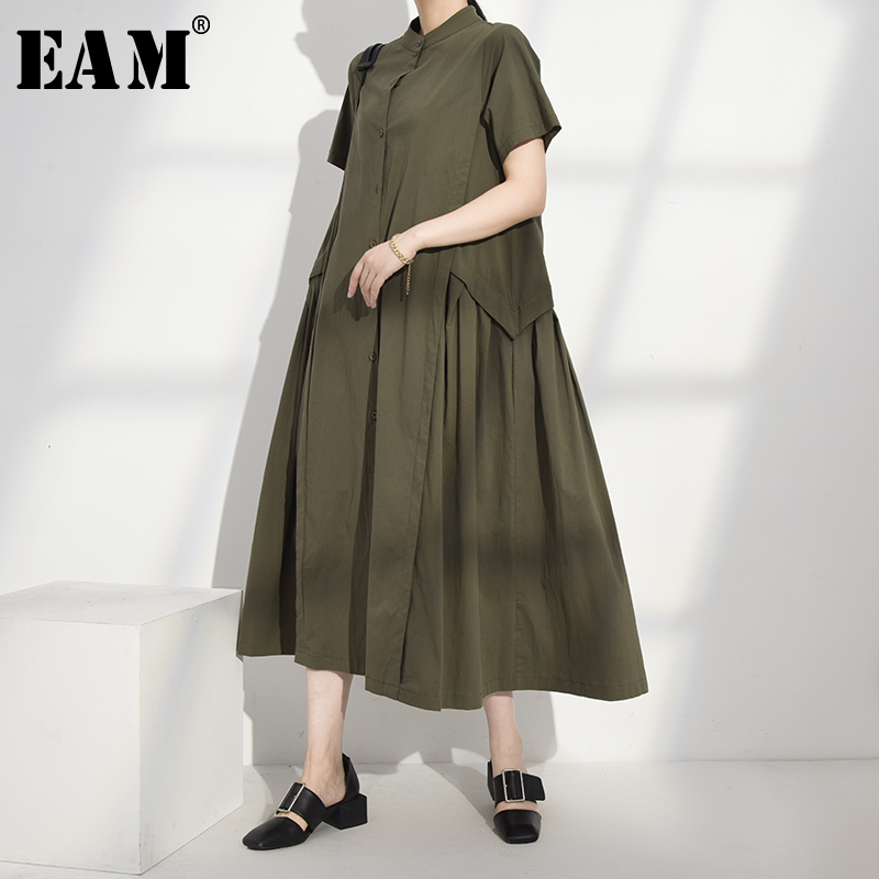 [EAM] Women Green Brief Long Temperament Dress New Stand Collar Short Sleeve Loose Fit Fashion Tide Spring Summer 2020 1W09101