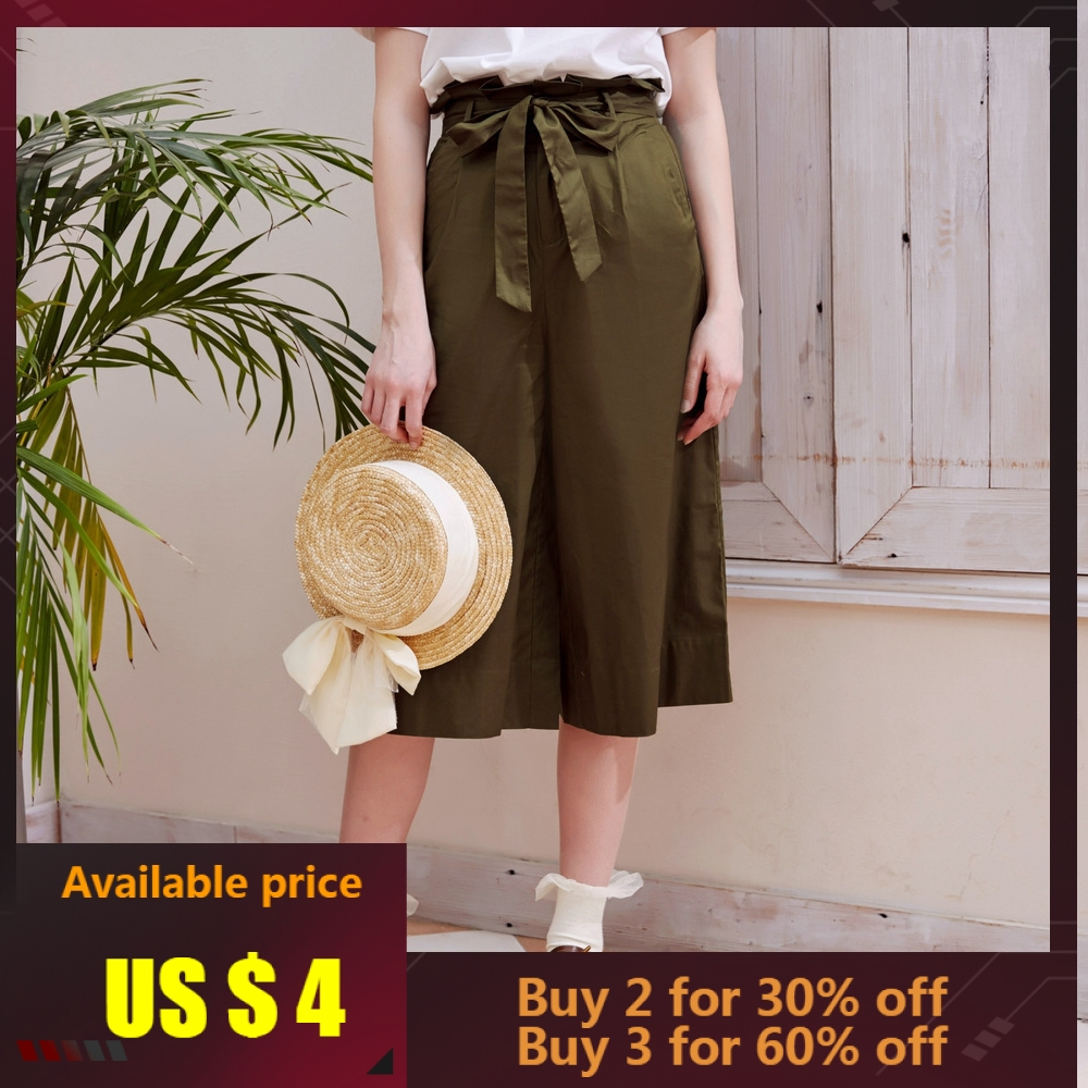 Metersbonwe   Wide     Leg   Suit   Pants   Female Calf Length   Pants   Woman Loose High Quality Stretch Waist Office Lady   Pants   With Sashes