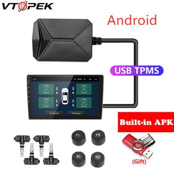 USB Android System monitorowania ciśnienia w oponach TPMS Alarm z wyświetlaczem System 5V czujniki wewnętrzne Android Radio samochodowe z nawigacją 4 czujniki tanie i dobre opinie Vtopek 45mm 150mm Plastic 0 35kg Connect to DVD USB TPMS USB Android TPMS CR1632 433 92MHz