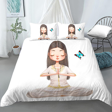 Duvet Cover And Pillowcase 2/3Pcs Bedding Sets Cute Yoga Girls Pattern Quilt Cover Comforter Cover Duvet Cover Set Girls Bedding mxdfafa anime pokemon duvet cover set cartoon bedding sets luxury duvet cover sets 3pcs include 1 duvet cover and 2 pillow case
