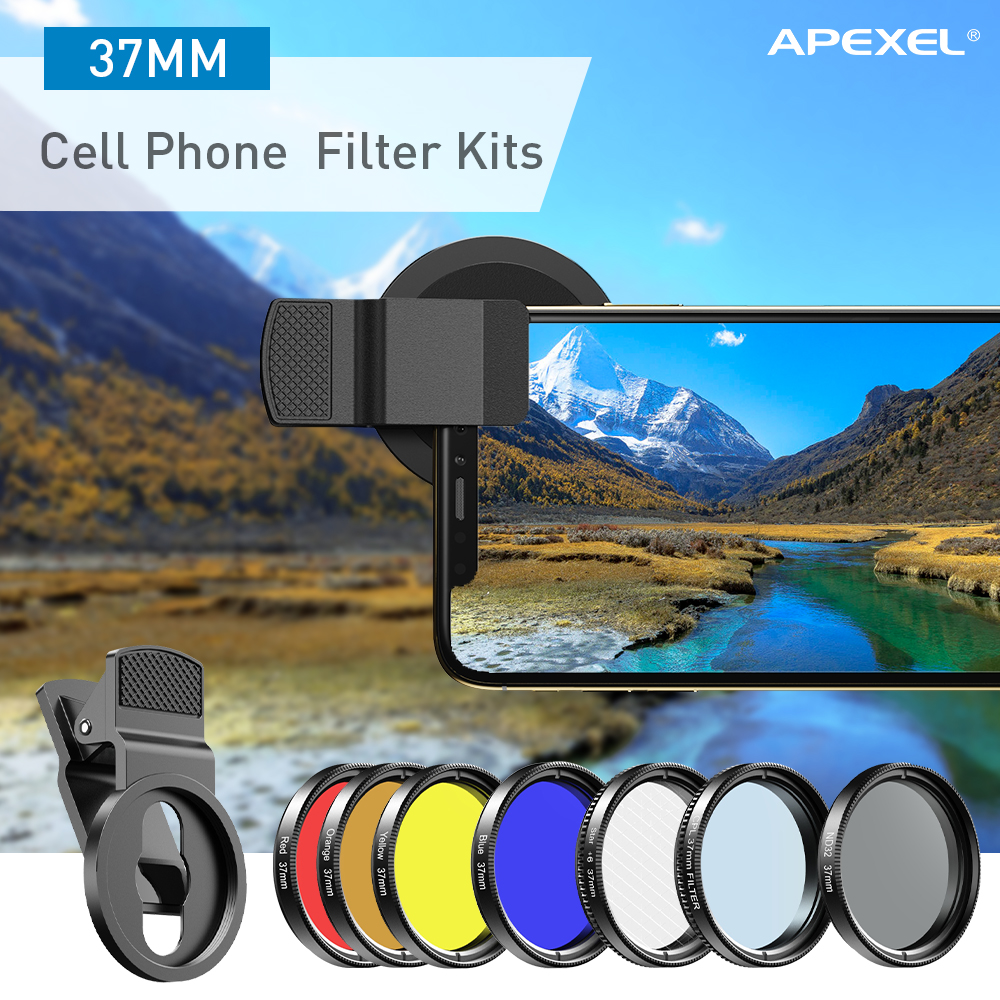 APEXEL 7in1 Full Filter Lens Kit Full Red Yellow Color ND32 CPL Star Camera Lens Filter With 37mm clip for smartphones 37UV-F