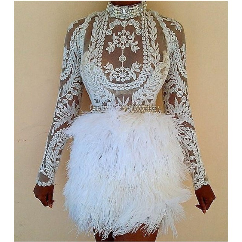 Feather Sheath Cocktail <font><b>Dresses</b></font> <font><b>Sexy</b></font> Sash Pearls Illusion Long Sleeves <font><b>Lace</b></font> Applique Short Prom <font><b>Dress</b></font> Cheap <font><b>Party</b></font> Vestido image
