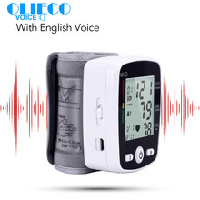 OLIECO USB 충전식 디지털 손목 혈압 모니터 영어 음성 LCD PR Tonometer 심박수 측정기 혈압계
