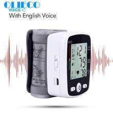 OLIECO USB Rechargeable Digital Wrist Blood Pressure Monitor English Voice LCD PR Tonometer Heart Rate Meter Sphygmomanometer