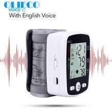 Olieco usb recarregável digital pulso monitor de pressão arterial voz inglês lcd pr tonômetro medidor de freqüência cardíaca esfigmomanômetro