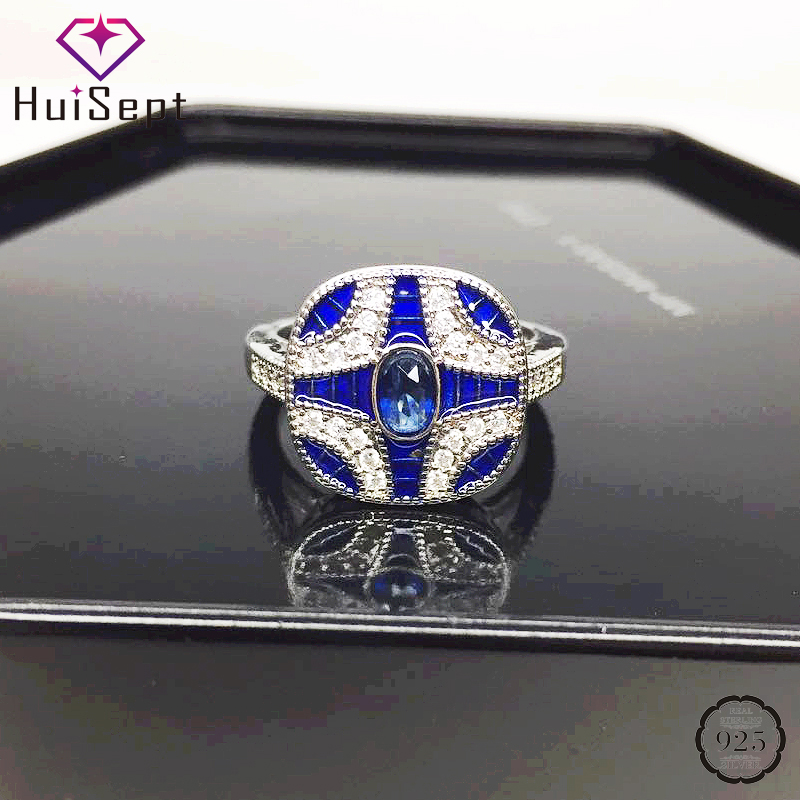 HuiSept Fashion Silver 925 Ring Jewellery with Sapphire Zircon Gemstone Geometric Shaped Women Rings for Wedding Party Wholesale