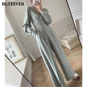 BGTEEVER Office Ladies V-neck Full Sleeve Women Jumpsuits Elegant Slim Waist Wide Leg Loose Rompers Female Playsuits 2021 Spring 1