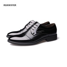 RGKWXYER Men Leather Shoes Business Breathable Flat casual Lace Up Dress Fashion Low Heels Office Working