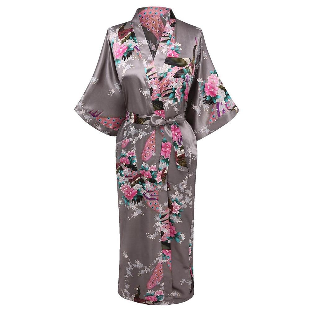 Gray V-neck Nightwear Casual Wedding Party Robe Print Women Kimono Gown Sleepwear Satin Long Bathrobe Home Clothing Pajamas