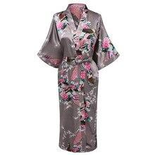 Kimono Gown Satin Nightwear Pajamas Clothing Sleepwear Long-Bathrobe Print Women Home