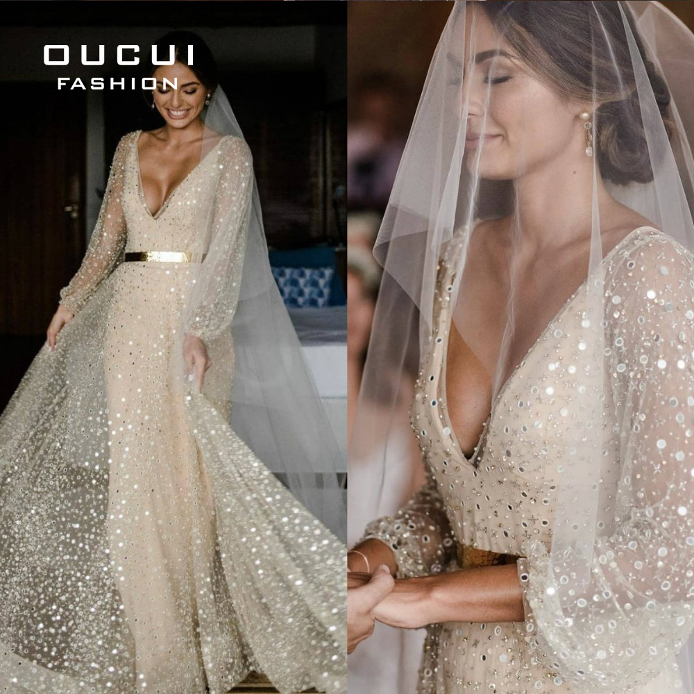 Beading Sparkly A Line Wedding Dress 2019 Long Sleeves Sequined  V Neck Bridal Gowns Backless Vestido De Novia OL103680