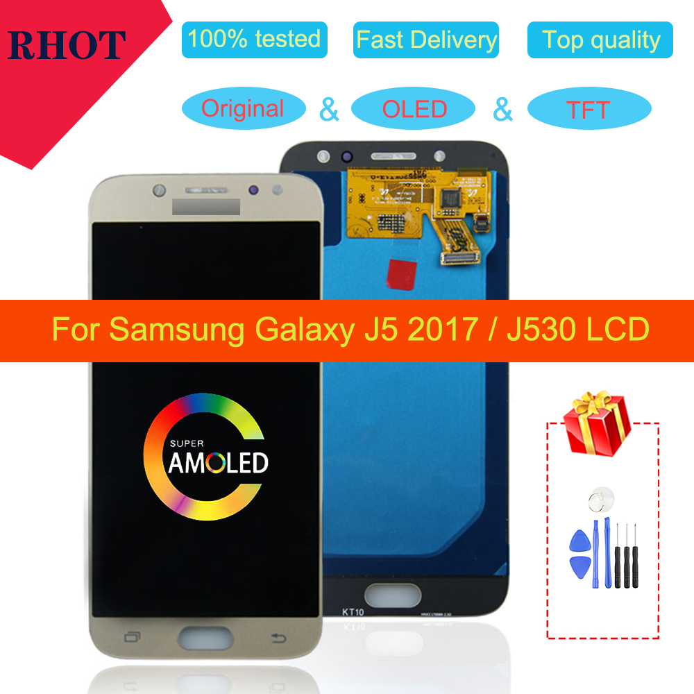 "Original/OLED/TFT 5.0"" LCD <font><b>display</b></font> for <font><b>Samsung</b></font> <font><b>Galaxy</b></font> <font><b>J5</b></font> <font><b>2017</b></font> <font><b>J5</b></font> Pro J530 J530M J530F SM-J530F touch screen digitizer assembly image"