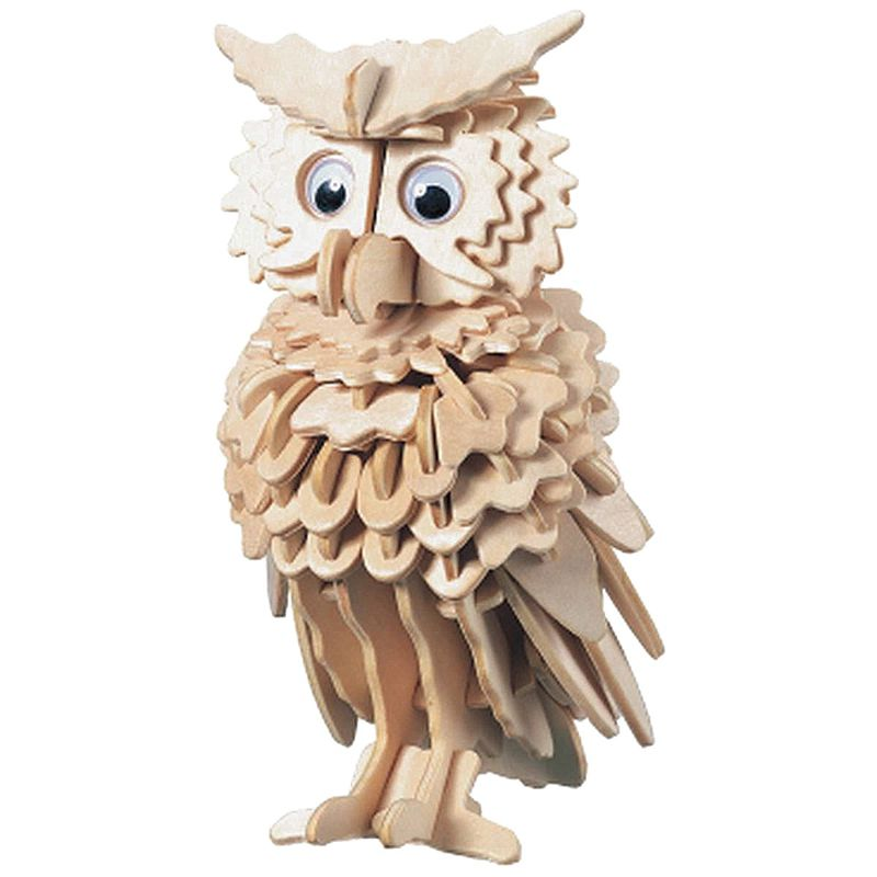 Kids' Toy 3D Wooden Owl Puzzle Jigsaw Woodcraft Kids Kit Toy Model DIY Construction Puzzles Children Educiational Toy
