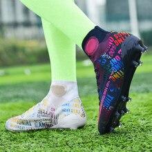 Nowa wysoka kostka buty piłkarskie mężczyźni oddychające na zewnątrz wysoko górne korki Turf Soccer Cleats Kids AG kobiety miękkie korki