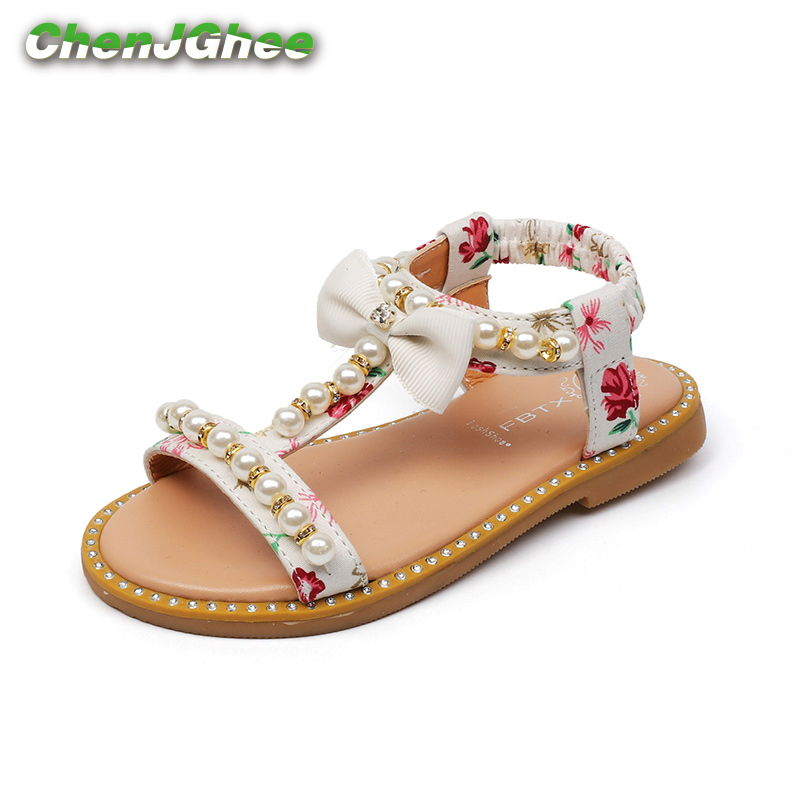Mumoresip 2019 New Fashion Girls Sandals Summer Shoes PU Leather With Flowers Prints Pearl Beading Open-toe Shoes Kids Sandals