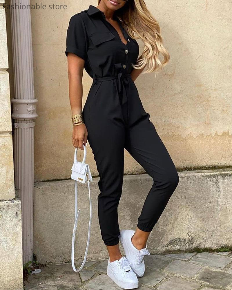 Women Solid Color Short Sleeve Bottoned Jumpsuit with Belt