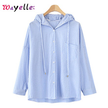 Women Blouses 2019 Summer Autumn Striped Hooded Casual Pocket Blue Navy Elegant Shirts Korean Fashion Clothing