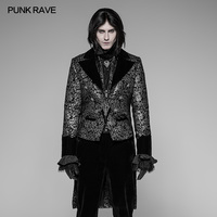 Punk Rave Men Jacket Gothic Steampunk Victorian Gorgeous Party Swallow Tail Floral Palace Men's Coat Jacket Stage Performance