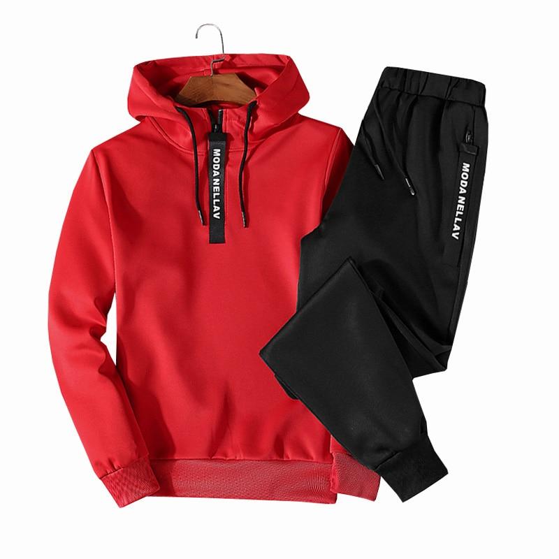 Patchwork Men's Sportswear Sets 2020 Autumn Winter Hooded Thick Male Casual Tracksuit Men 2 Piece Sweatshirt + Sweatpants Set