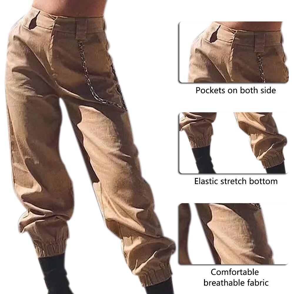 PUIMENTIUA 19 Autumn vintage chain black cargo pants women high waist pants joggers baggy trousers women streetwear plus size 24