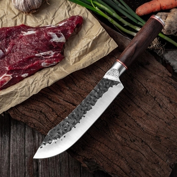 7.6inch Handmade Forged Kitchen Knife Butcher Meat Chopping Cleaver Chinese Chef Knife 5CR15 Stainless Steel Butcher Knife Chef Knife Chopper Home & Garden Home Garden & Appliance Kitchen Knives & Accessories Kitchen, Dining & Bar Meat Cleaver Multifunctional Knife Color: Slicing knife